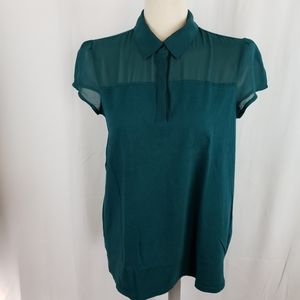 Banana RepUblic dark green short sleeve blouse